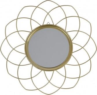 Wiszące lustro dekoracyjne w kolorze złotym Flowe