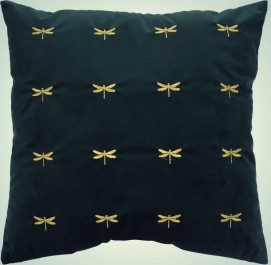 Kwadratowa poduszka dekoracyjna z haftem Buggy Dragonfly 45x45 cm