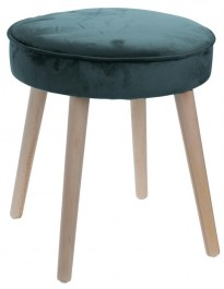 Aksamitny stołek na drewnianych nogach Amber G Velvet