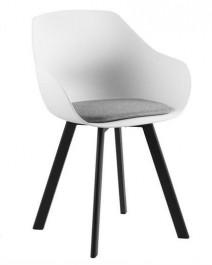 Krzesło z kubełkowym siedziskiem i poduszką Tina Black