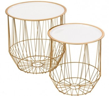 Zestaw stolików ze zdejmowanym blatem białym Glamour