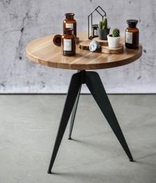 Stolik pomocniczy z okrągłym blatem dębowym Lofty Round