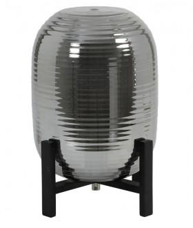 Szklana lampa stołowa na drewnianej podstawie Nibali