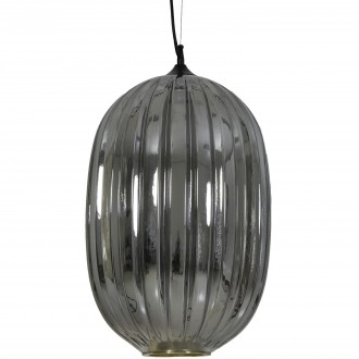 Wisząca lampa salonowa ze szklanym kloszem dymionym Jenny