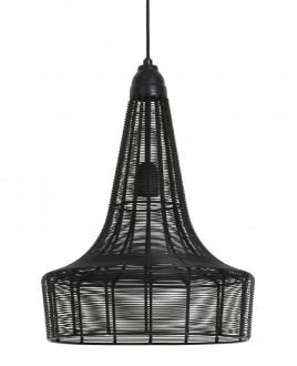 Czarna lampa wisząca z drucianym kloszem Melia