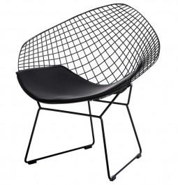 Designerski fotel z czarnym stelażem drucianym HarryArm