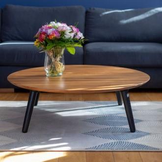 Okrągły stolik kawowy na drewnianych nogach Contrast Slide