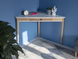 Trójkątne biurko narożne z szufladą Ashme