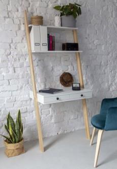 Biurko z półkami i szufladami w kształcie drabiny Leno