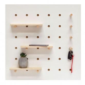 Kwadratowy panel ścienny z półkami i wieszakami Triventi