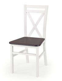 Białe drewniane krzesło z ciemnym siedziskiem Dariusz 2