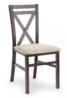 Drewniane krzesło z tapicerowanym siedziskiem Dariusz ciemny orzech
