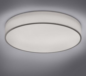 Okrągła lampa sufitowa z białej tkaniny Diamo 75