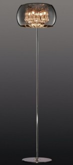 Designerska lampa stojąca ze szklanym kloszem Vapore