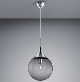 Nowoczesna lampa wisząca z kulistym kloszem dymionym Midas 30
