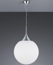 Duża lampa wisząca z kulistym kloszem z białego szkła Midas 45