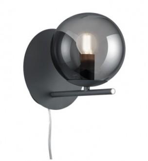 Elegancki kinkiet szklany w kształcie kuli na metalowym słupku Pure