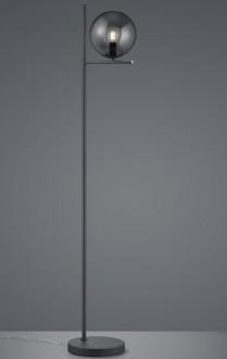 Wysoka lampa stojąca z dymionym kloszem szklanym Pure