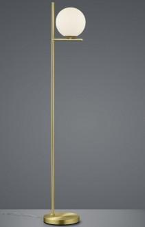 Wysoka lampa stojąca z białym kloszem szklanym Pure