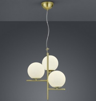 Dekoracyjna lampa wisząca z trzema białymi kloszami Pure