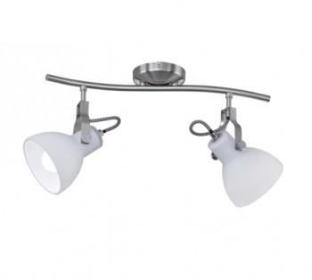 Biała lampa sufitowa z dwoma reflektorami Ginelli