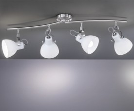 Szeroki plafon z czterema białymi reflektorami Ginelli
