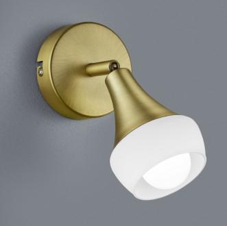 Lampka ścienna ze szklanym reflektorem Trumpet mosiądz/biały