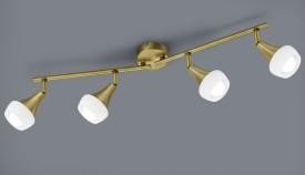 Regulowana lampa sufitowa z czterema reflektorami Trumpet biały/mosiądz