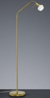 Regulowana lampa stojąca na jednej wygiętej nodze Trumpet mosiądz/biały