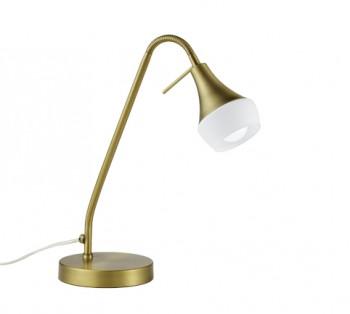 Lampa biurkowa z giętym wysięgnikiem Trumpet mosiądz/biały