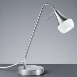 Lampa biurkowa z giętym wysięgnikiem Trumpet nikiel mat/biały