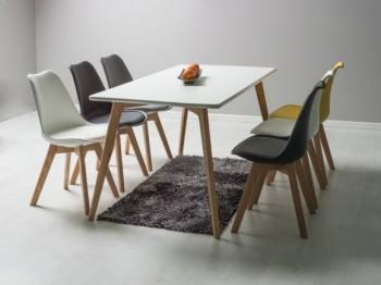 Biały stół na drewnianych nogach Milan 160