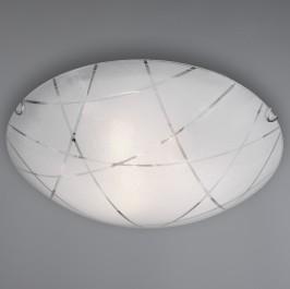 Okrągły plafon sufitowy z białego szkła Sandrina 50