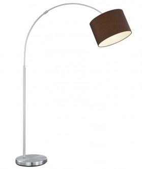 Regulowana lampa łukowa z brązowym kloszem tkaninowym Hotel