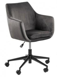 Welurowy fotel biurowy na kółkach Nora Vic