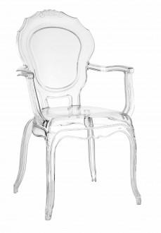 Krzesło transparentne z podłokietnikami Queen Arm
