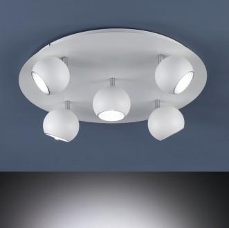 Okrągły plafon sufitowy z pięcioma reflektorami Dakota