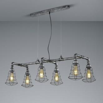 Szeroka lampa wisząca z sześcioma drucianymi kloszami Gotham