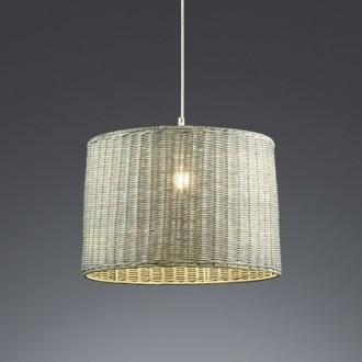 Wisząca lampa klasyczna z rattanowym kloszem Rotin