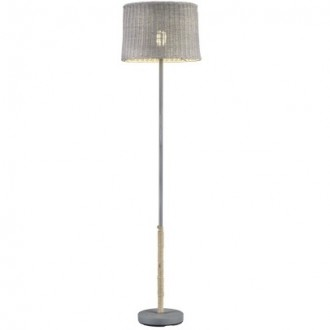 Klasyczna lampa podłogowa z rattanowym kloszem Rotin