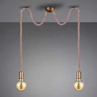 Podwójna lampa wisząca bez klosza na sznurze Rope