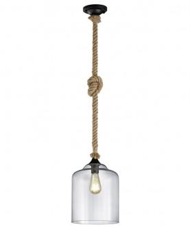 Wisząca lampa na sznurze ze szklanym kloszem Judith