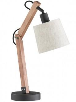 Drewniana lampa biurkowa z tkaninowym abażurem Janko
