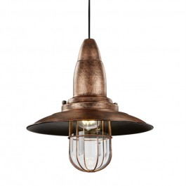 Metalowa lampa w stylu loft z okrągłym daszkiem Fisherman