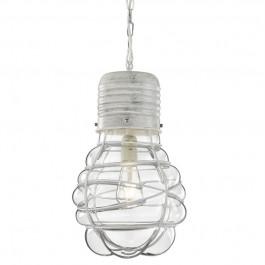 Biała lampa wisząca w kształcie żarówki Edda