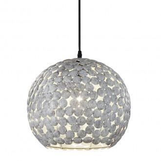 Wisząca lampa kulista z okrągłymi dekorami metalowymi Frieda szary