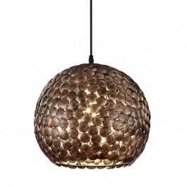 Wisząca lampa kulista z okrągłymi dekorami metalowymi Frieda miedź