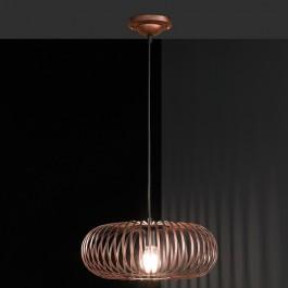 Loftowa lampa wisząca z owalnym kloszem drucianym Johann