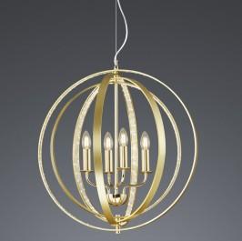 Mosiężna lampa wisząca Candela z drucianym kloszem kulistym