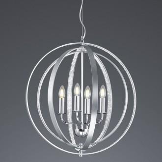 Srebrna lampa wisząca Candela z drucianym kloszem kulistym